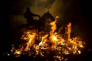 Riding through bonfire smoke in celebration of Saint Anthony in San Bartolomo de Pinares, Spain. Source: clikhear.palmbeachpost.com