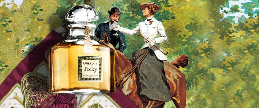 Old Jicky ad featuring the pure parfum bottle. Source: Guerlain website.