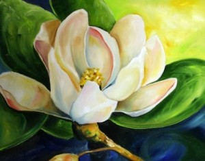 """First Bloom 2009 Contemporary Art Magnolia Flower Daily Painting"" by Laurie Justus Pace. Source: dailypainters.com (Website link embedded within.)"