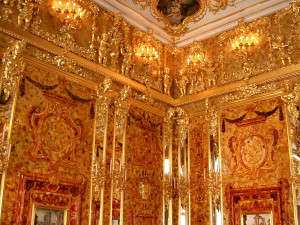 "The legendary gold ""Amber Room"" of the Tsars, St. Petersburg. Source: Wikipedia."