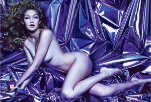 Tom Ford Velvet Orchid ad, featuring Gigi Hadid, and shot by Mario Sorrenti. Source: Harpersbazaar.com