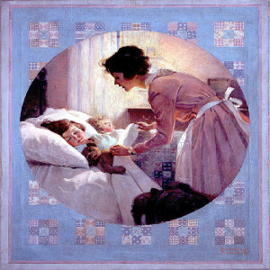 """Norman Rockwell, """"Mother Tucking Children Into Bed,"""" 1921. Source: pinterest."""