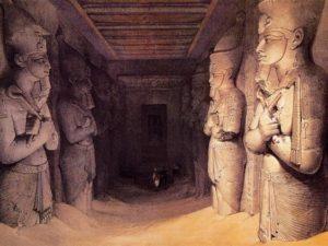 Entrance Hall, Abu Simbel, Ramses IIs tomb. Image ca. 1839. David Roberts lithograph. Source: Pinterest.