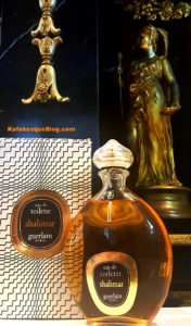 """1976 vintage Shalimar Eau de Toilette, 8 oz bottle. The box is the post-1967, black and white """"zig zag"""" or """"zebra box"""" with a 1967 copyright date Photo: my own."""