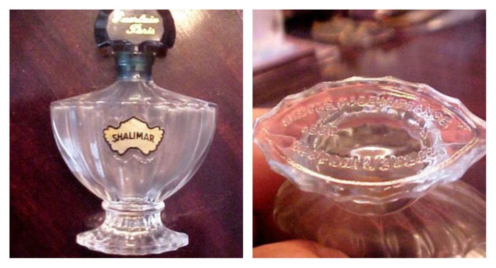 "Vintage Shalimar extrait, 1 oz bottle by Saint Gobain, circa 1981-1986. Photos: eBay seller, ""luxe_artifacts."" Collage by me."