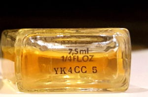 Vintage Shalimar Parfum de Toilette batch code on the base of its bottle. Photo: my own.