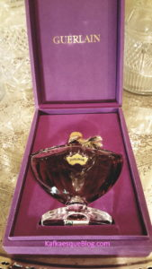 A 4 oz Baccarat bottle of vintage Shalimar that I recently bought. Photo & bottle: my own.