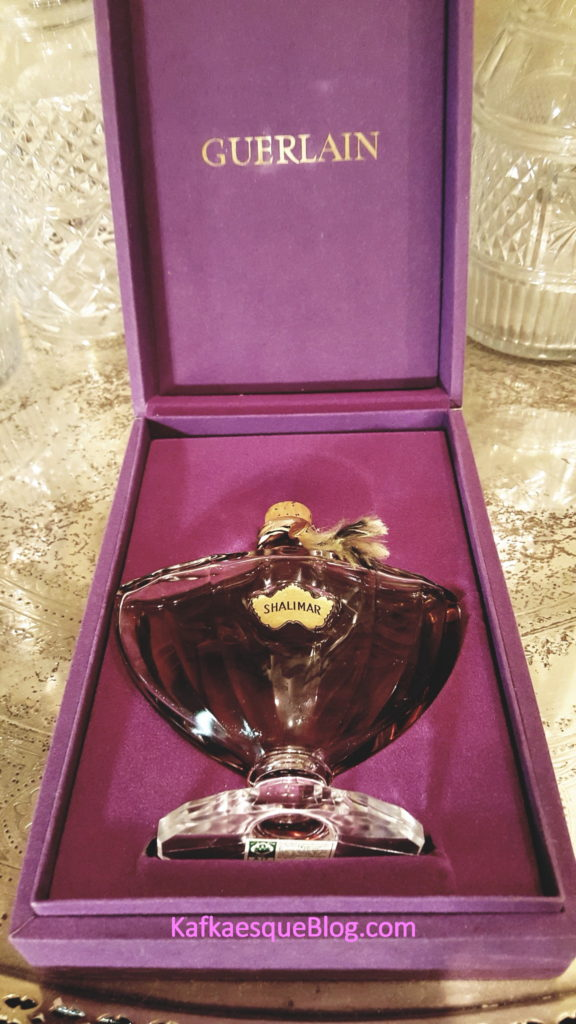 A 4.2 oz Baccarat bottle of vintage Shalimar that I recently bought. Photo & bottle: my own.