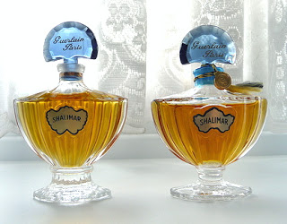"Saint Gobain bottle on the left with its stubby base, circa 1981-1986, while an older bottle from the 1970s is to the right and made by Pochet. Photo from Angelairas Perfumes, originally from Basenotes member ""ayelfior."""