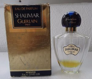 "1990s vintage Shalimar eau de parfum in the black and gold box that followed the ""zebra"" or ""zig zag"" white and black box. My EDP bottle looked like this one. Photo source: eBay seller, grigory4u"