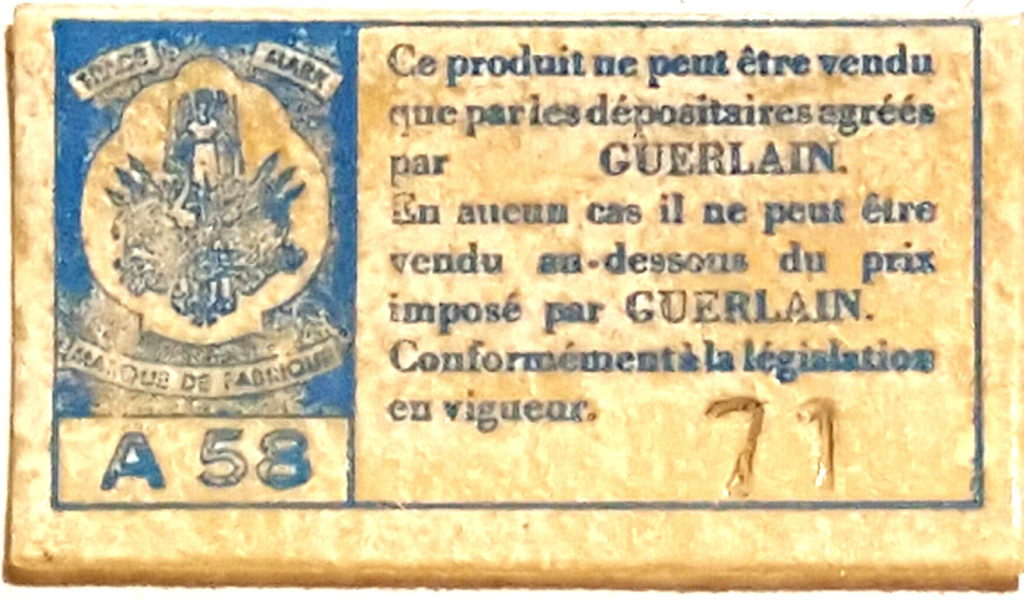 1967-1976 base sticker for L'Heure Bleue extrait. Photo: my own.