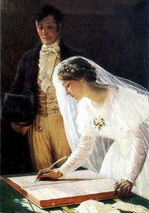 "One portion of ""The Wedding Book,"" Edmund Blair Leighton ( 1853-1922 ). Source: Pinterest."